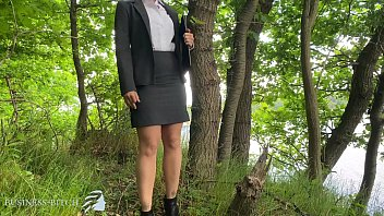 business woman rough public sex in the forest - rip her white blouse