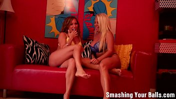 Ballbusting in the balls from two milfs