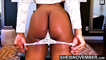 Her parted anus Step dad said drop my panties or get out his house, slender ebony step daughter msnovember strip thong off her skinny waist hips. horny black father spreading her blackass cheeks apart watching her blackbootyhole wink on sheisnovember