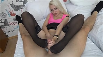 Foot job in nylons Fisted pussy and Cummed good in mouth