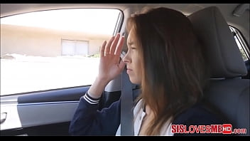 Hot Young & Petite Stepsister Charity Crawford Stepbrother Big Cock Blowjob In Car POV