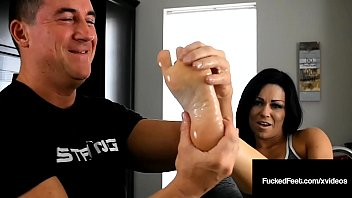 Foot Trainer Sarah Brooke Foot Fucks Lucky John's Cock!