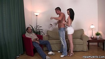 Old man sharing young brunette wife with a guy