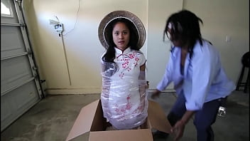 Petite tiny 18yo Asian filipina teen midget sex doll stuck on time stop mode gets her perfect little pinay ass unboxed and interracial fucking by big black cock mailman ft Violet Rae