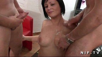 Big boobed french milf gets hot shower and hard fucked in threesome