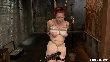 Tied gaping ass redhead gets whipped