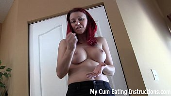 Stick your dick in my tits Jerk off and eat your cum twice cei