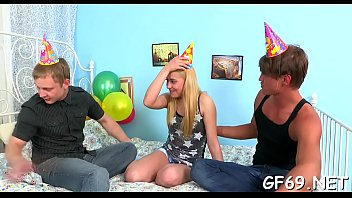 Delightsome darling is sharing her twat with two horny guys
