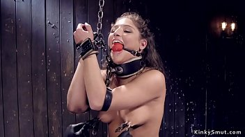 Gagged and clamped slave ass whipped