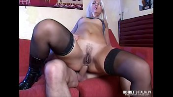 A huge cock for the mouth and the ass of a slutty and horny blonde