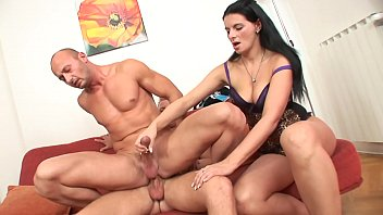 Kinky european housewife Jandra B. is not against to have it away with couple of bisexual studs