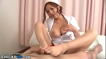 Japanese huge boobs nurse helps patient to cum