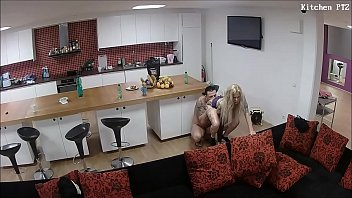 guest  is pleasured with her mouth in the kitchen