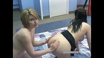 Tied tribbed and double dildoed Veronica snow and angelica meow share a big dildo