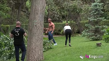 Being famous is great: Antonio finds and fucks a blonde MILF right in the park