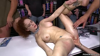 Curly babe anal fucked in public shop