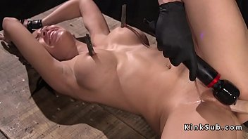 Brunette ass whipped and cunt toyed