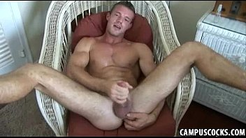 Naughty stud with blonde hair from college using dildo