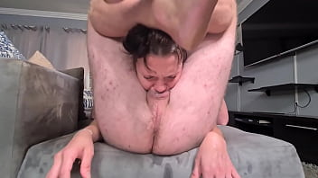 Rough throat fucking with foot locking and heavy gag