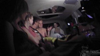 blondie licking another blondie in limo after the bars close