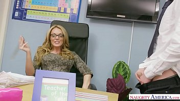 Naughty America - Find Your Fantasy Teacher Stacey Saran fucking in the chair with her tits thumbnail