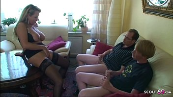 German Big Tits Mom Teach Monster Cock Step Son and Friend to Fuck in Threesome