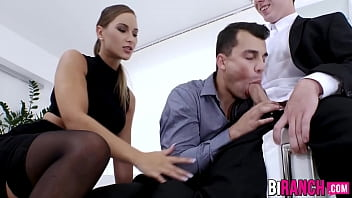 "Office studs engage in a wild bi threesome with classy babe <span class=""duration"">6 min</span>"