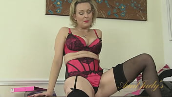 AuntJudys - 43yr-old UK MILF Betsy at the Office in Stockings (AJ Classics) 15 min