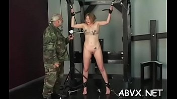 Lewd honey is playing with her massive tits her