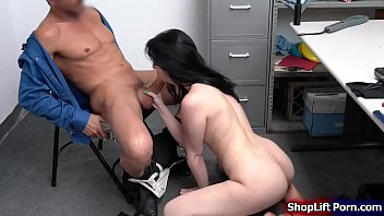 Brunette is banged by security in office