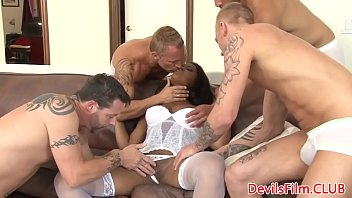 Busty black beauty titfucked in gangbang