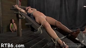 Women tied up and spanked - Tied up beauty receives vicious pleasuring for her love tunnel