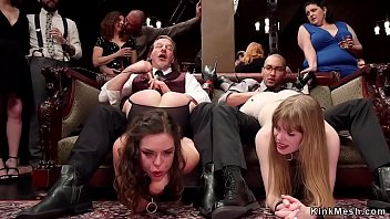 Slaves sucking at bdsm orgy