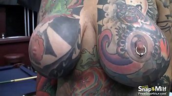 This bitch has massive tits and lots of sexy tattoos thumbnail