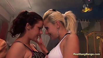 Gangbang gagging party slutload Two girls in real gangbang orgy