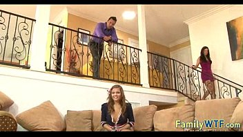 Husband and wife fuck the babysitter 728