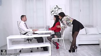 Darcia Lee and Mia Evans rides their boss' big dick