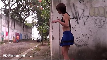 Backalley flashing teen Elisas shapely latina exhibitionism and public masturbation