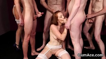 Wacky peach gets jizz load on her face swallowing all the cream