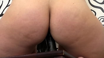 A girl in stockings jumps astride a black dildo and her juicy PAWG shakes and there is abundant vaginal discharge in her pussy Home fetish masturbation