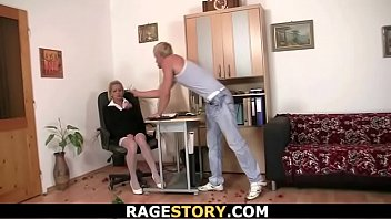 Blonde secretary rides his angry cock after brutal deepthroat