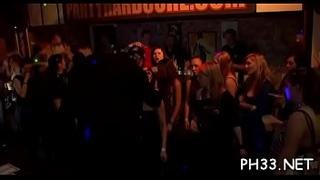 Plenty of gangbang on dance floor blow jobs from blondes with sperm at face