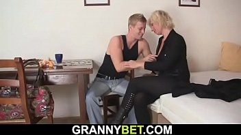 Blonde mature woman rides neighbor's big meat