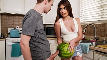StepSister Caught Her Brother Masturbating With A Watermelon - w\/ Winter Jade and Alex Jett