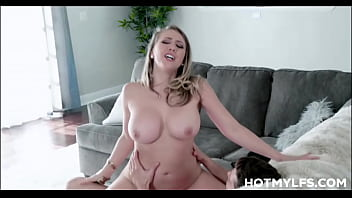 Big Tits Blonde MILF Step Mom Kagney Linn Karter Rides Step Son Cock On Family Couch