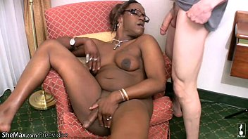 Chubby shemale strips off and reveals her dark natural tits