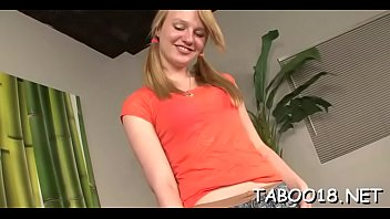 Spicy blond teen enoys giving a fleshly blowjob and handjob