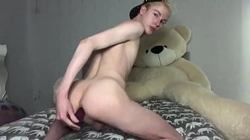 Slutty Twink Farting While Riding Dildo