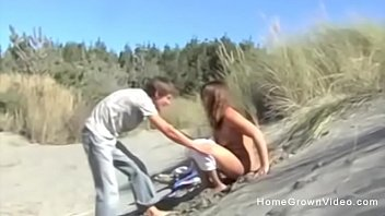 Cute couple strip completely nude and fuck outdoors