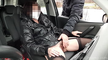 Dogging my slut wife in public car parking a stranger fingering and masturbation her pussy she ends squirting in the seat She risks getting caught by near people